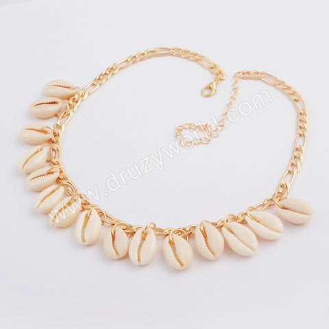 Gold Cowrie Shell Adjustable Chocker WX1080