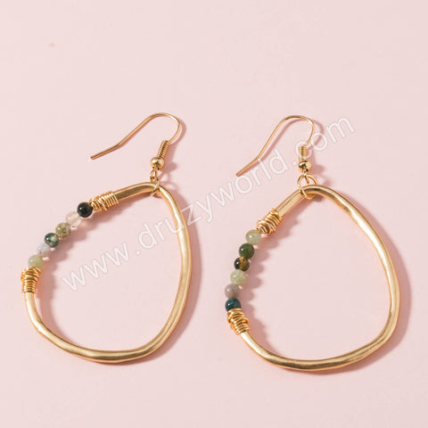 Gold Plated Drop Natural Stone Dangle Earrings WX1659