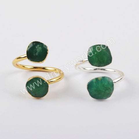 Gold Plated Australia Jade Adjustable Ring G1920