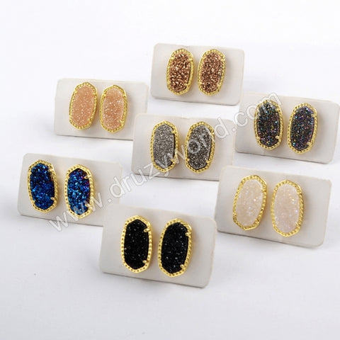 Gold Plated Claw Hexagon Rainbow Titanium Druzy Studs ZG0342