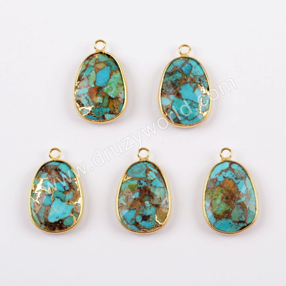 18K Gold Plated Bezel Copper Goldline Turquoise Charm For Jewelry Making G1632