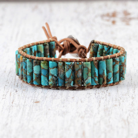 Turquoise Beaded Tube Leather Wrap Bracelet HD0087