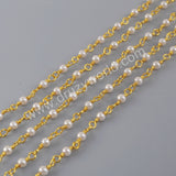 Pearl Rosary Chains In Gold Plated Jewelry Necklace JT266