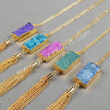Gold Plated Rectangle Rainbow Agate Druzy Necklace & Golden Chains Tassels G0339