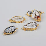 Gold Plated Freeform Natural Onyx Agate Slice Connector Double Bails G0952