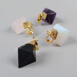 Gold Plated Diamond Shape Point Multi-Kind Stones Faceted Pendant Bead G1003