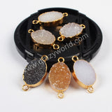 Gold Plated Natural Color Oval Druzy Geode Connector G0816