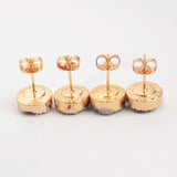 Gold Plated 10mm Round Natural Agate Titanium Color Druzy Stud Earrings G0911