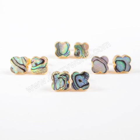 Abalone Shell Gold Plated Earrings Jewelry Wholesale For Women G0877