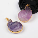 Gold Plated Whole Ammonite Natural Multi-Color Fluorite Faceted Pendant Bead G0567