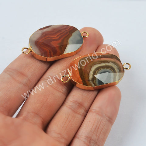 Gold Plated Imperial Jasper Faceted Connector G2010
