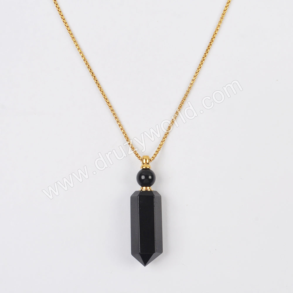 "23"" Gold/Silver Black Obsidian Perfume Bottle Necklace WX1757"