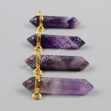 Gold Plated Hexagon Natural Amethyst Faceted Connector Double Bails WX019
