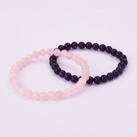 6mm Natural Amethyst Rose Quartz Bead Bracelet HD0349