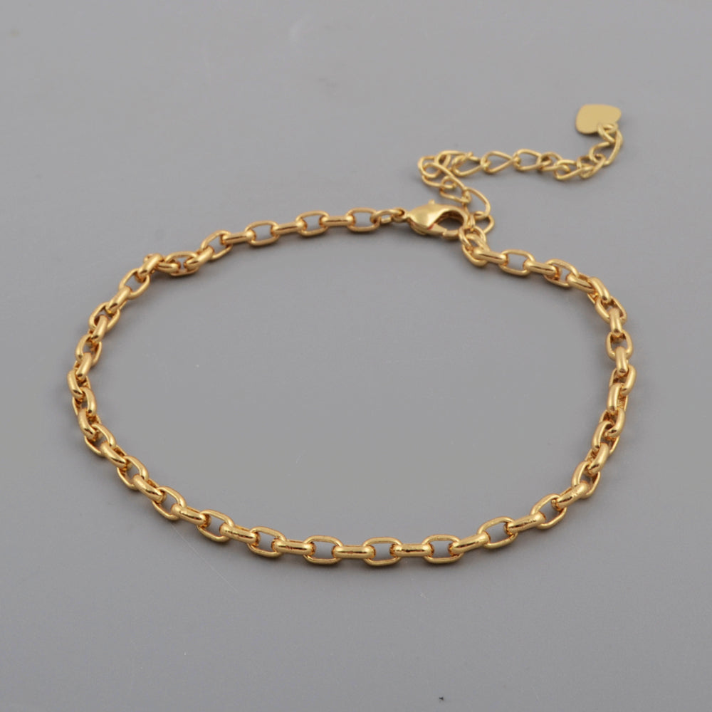 Gold/Silver Plated 1mm Thin Connector Chain Bracelet PJ289