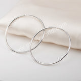 Earrings Hoop Large Size Earrings 925 Sterling Silver WX1377