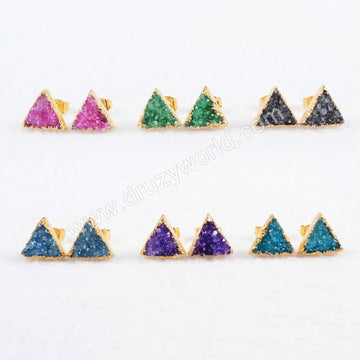Gold Plated  Colorful Triangle Agate Druzy Stud Earrings