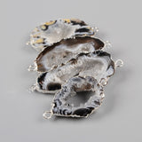 Natural Onyx Agate Slice Connector Double Bails Silver Plated S0952