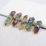 Gold Plated Natural Multi-Color Fluorite Faceted Connector Double Bails Quartz Jewelry G0241