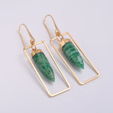 Gold Plated Genuine Amazonit Earrings HD0345