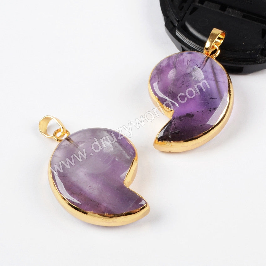 Gold Plated Whole Ammonite Natural Amethyst Pendant Bead G0566