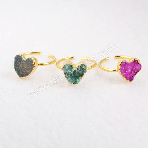 Gold Plated  Natural Rainbow Heart Druzy Agate Adjustable Knuckle Ring G0600