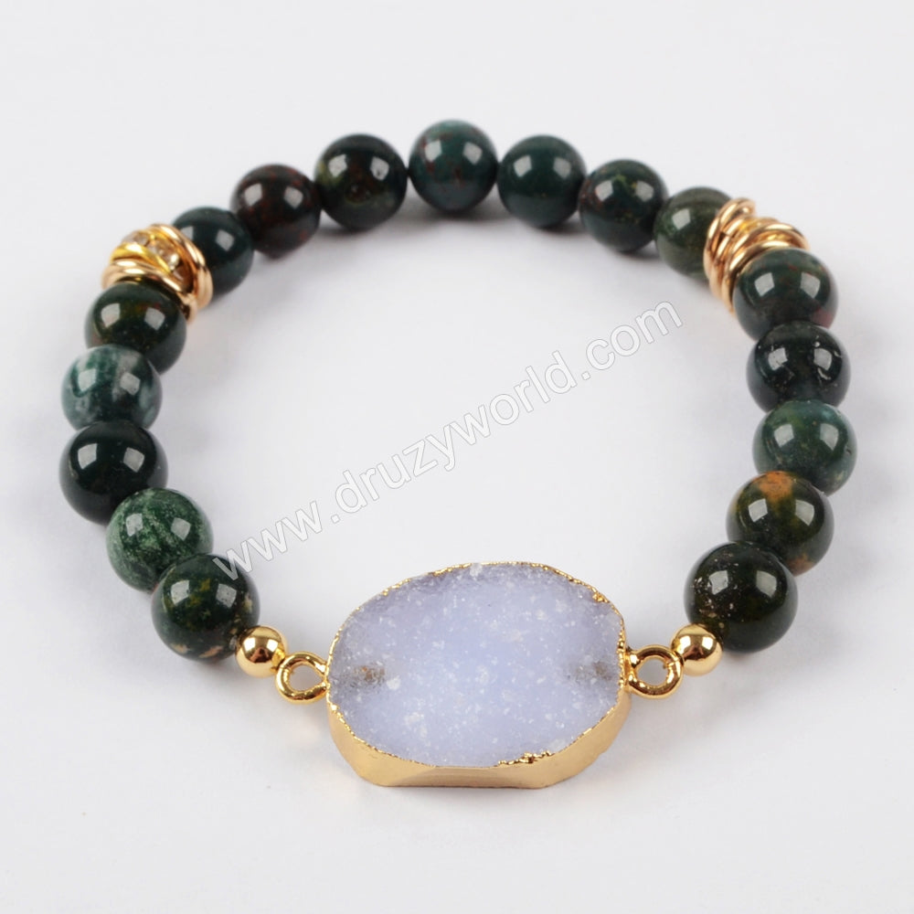 Gold Plated Natural Druzy With 8mm Gemstone Beads Bracelet G1474