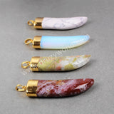 Gold Plated Horn Shape Rainbow Multi-Kind Jasper Quartz Faceted Pendant Bead G0712