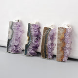 925 Sterling Silver Plated Rectangle Natural Amethyst Druzy Slice Pendant Bead SS019