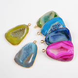 Gold Plated Drop Rainbow Agate Druzy Geode Faceted Charm G0378