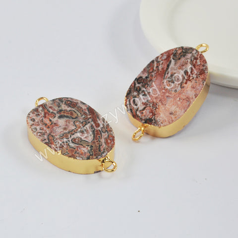 Gold Plated Leopard Skin Jasper Connector G1997