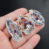Silver Plated Natural Color Freeform Natural Onyx Druzy Drusy Agate Slice Pendant Inlay Natural Amethyst