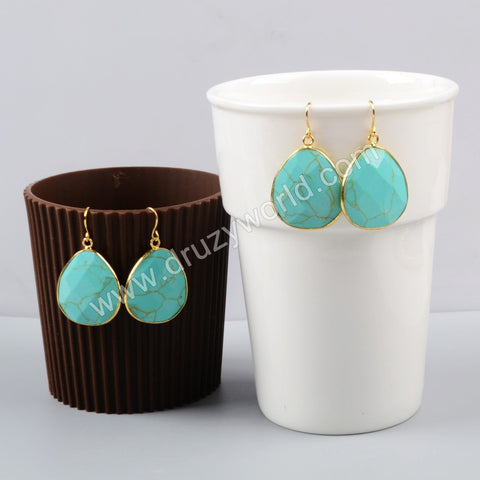Gold Plated Drop Howlite Turquoise Faceted Slice Dangle Earring G1001