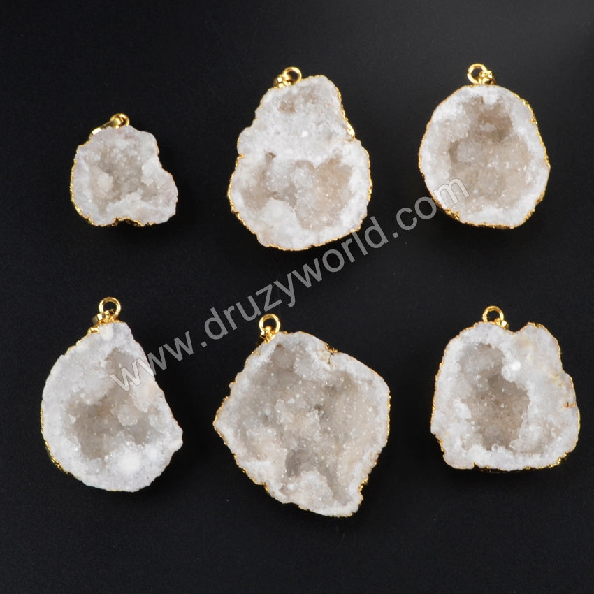 Gold Plated Edge Freeform Cave Shape Natural Crystal Druzy Pendant G1187