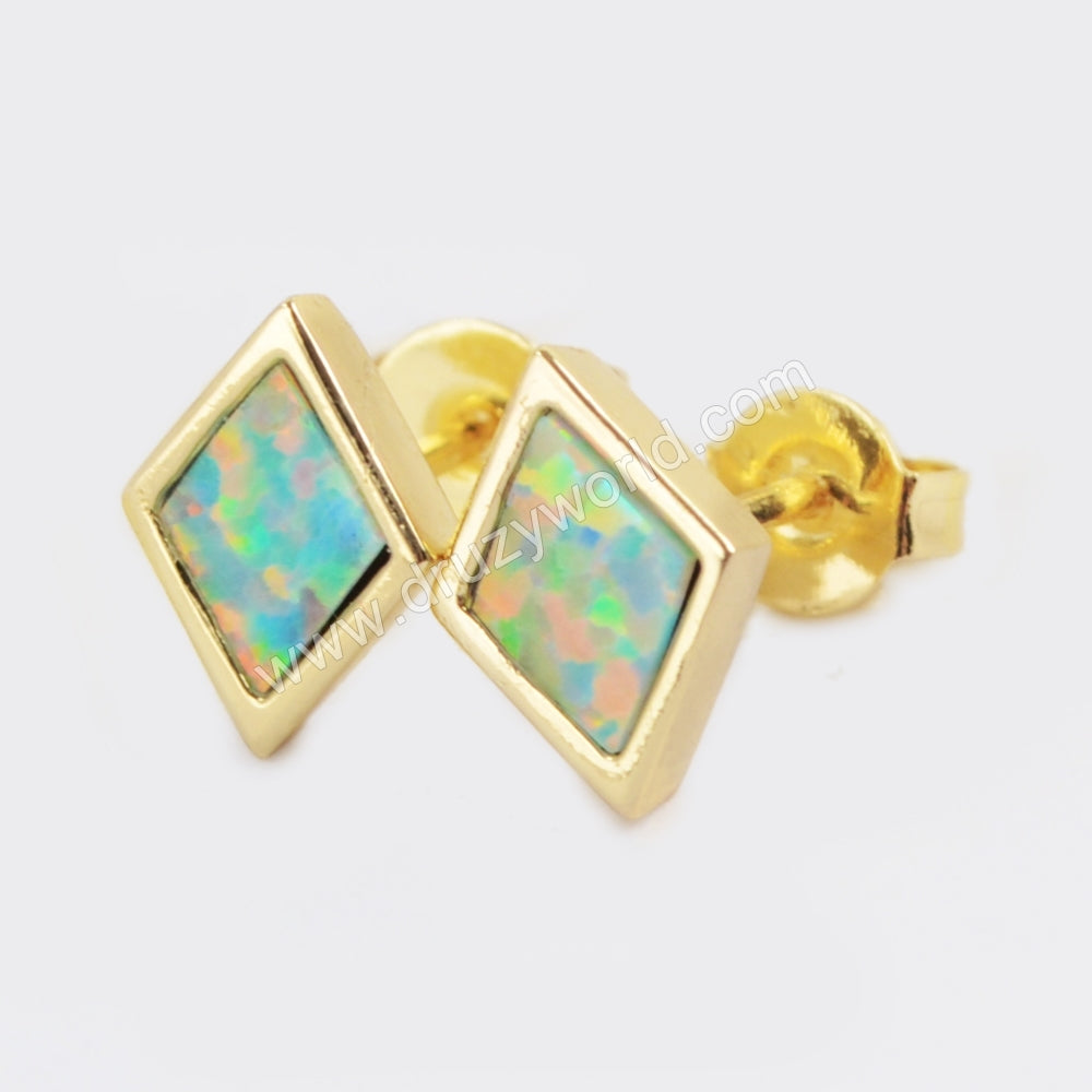 Gold Bezel Diamond Shape White Opal Studs ZG0206