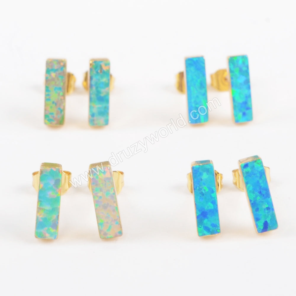 Gold Plated Rectangle White Opal Studs G1423