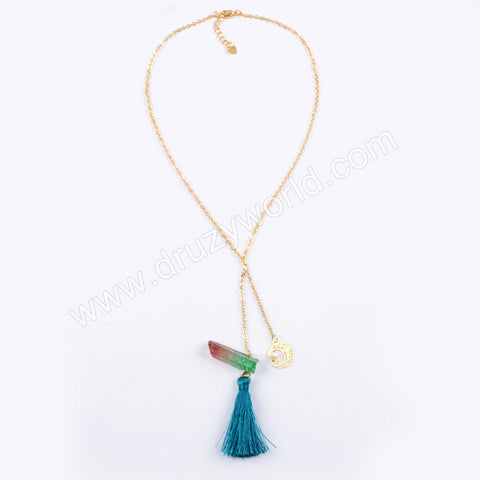 Boho Summer Beach Jewelry Healing Crystal Point Tassel Necklace HD0010