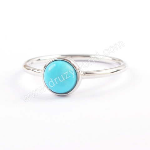 927 Sterling Silver Round Natural Turquoise Ring SS199