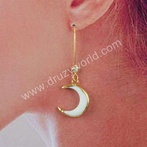 White Shell Statement Earrings Fashion Women Earrings Gold Plated HD0187