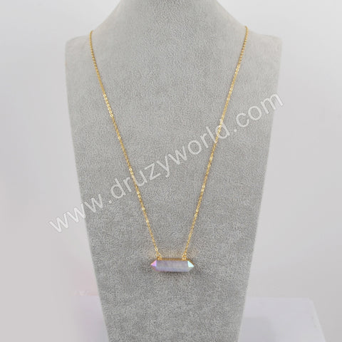 Hexagon Gold Plated White Quartz Faceted Connector Necklace G1868