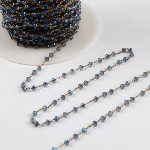 5m/lot,3mm Dark Blue Glass Beads Chains  JT166