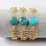 15mm Round Gold Plated Natural Turquoise Bracelet Bangle ZG0171