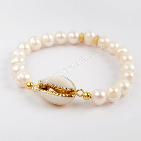 Cowrie Shell With Pearl Beads Bracelet G1552
