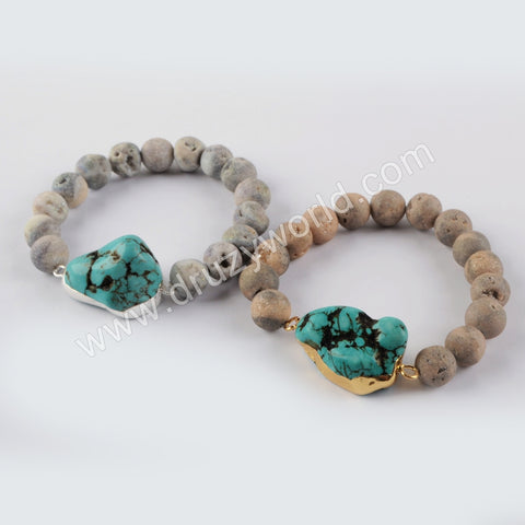 Druzy Beads Blue Howlite Friendship Bracelet Women G1931