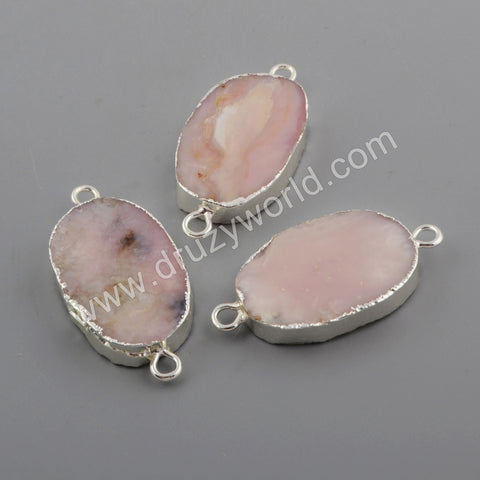 Silver Plated Pink Opal Connector S1751