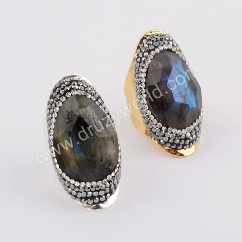 Tear Drop Gold Plated Rhinestone Pave Natural Facted Labradorite Ring JAB957