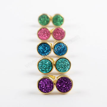 8mm Round Natural Agate Titanium Rainbow Gold Druzy Geode Stud Earrings  ZG0328