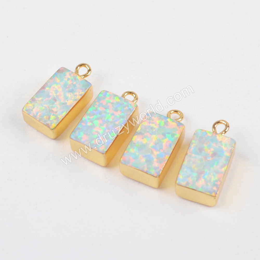 Rectangle Gold Plated White Opal Charm G1466