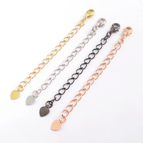 10pieces/lot,2.5-3 Inch Plated Copper Finished Chain Connector Necklace Finding Golden Flat Cable Chain Losbter Clasp PJ273
