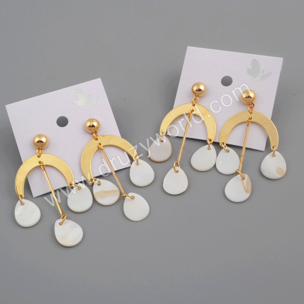 Gold Moon White Shell Earring WX1081